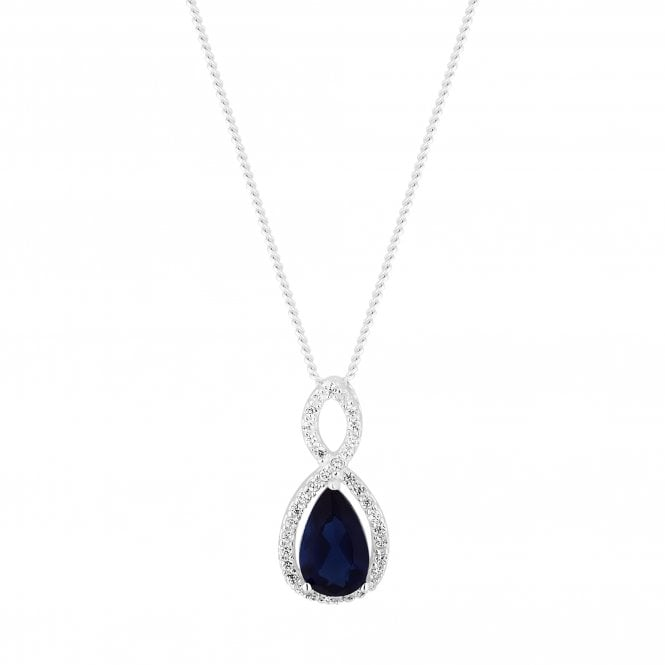 Sterling Silver Blue Cubic Zirconia Twist Pendant Necklace