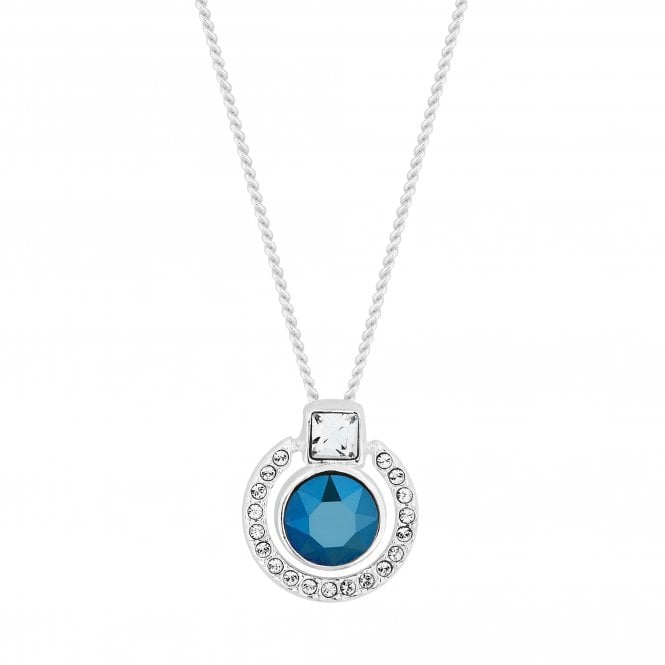 Sterling Silver Blue Halo Pendant Necklace Embellished With Swarovski Crystals