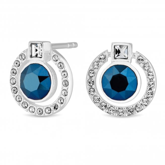 Sterling Silver Blue Halo Stud Earring Embellished With Swarovski Crystals