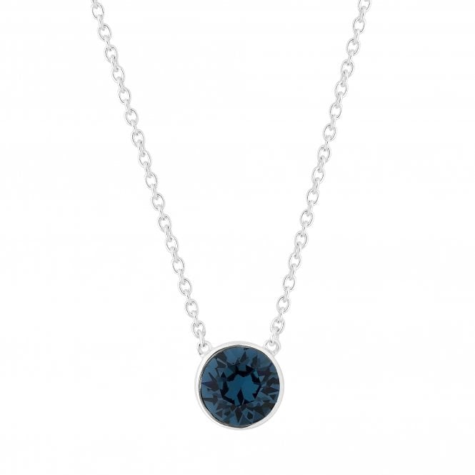 Sterling Silver Blue Pendant Necklace Embellished With Swarovski Crystals