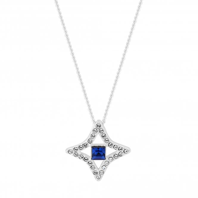 Sterling Silver Blue Star Pendant Necklace Embellished With Swarovski Crystals