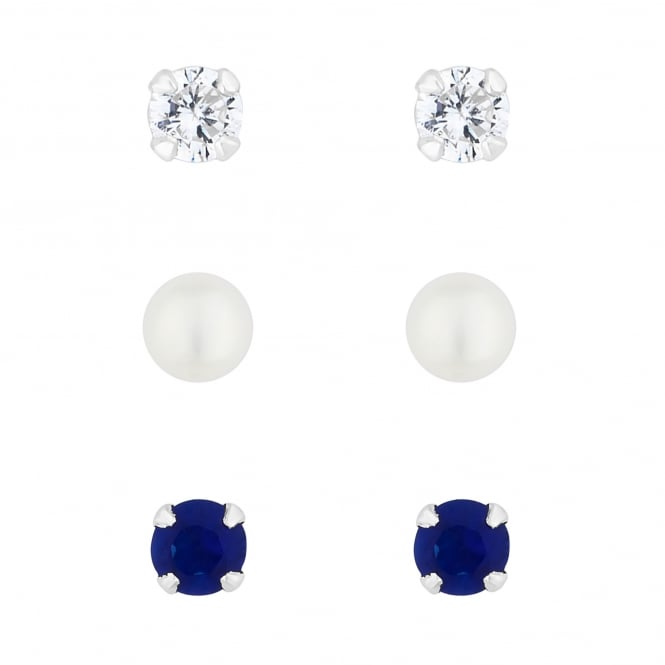 Sterling Silver Blue/ White/ Pearl Stud Earring Set - Pack of 3
