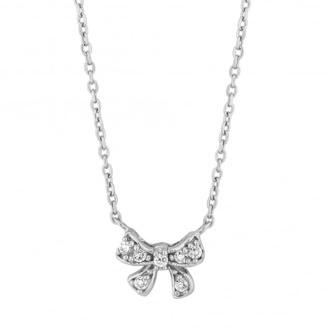Simply Silver Sterling silver bow necklace