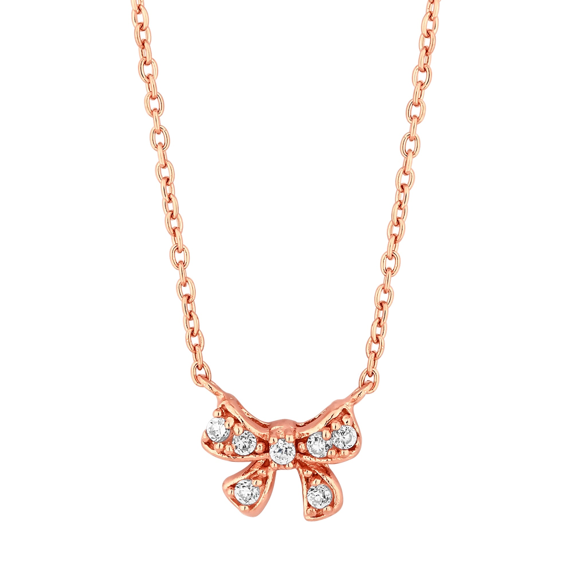 sterling zoom gold silver bow rose necklace cubic zirconia necklaces jewellery plated simply