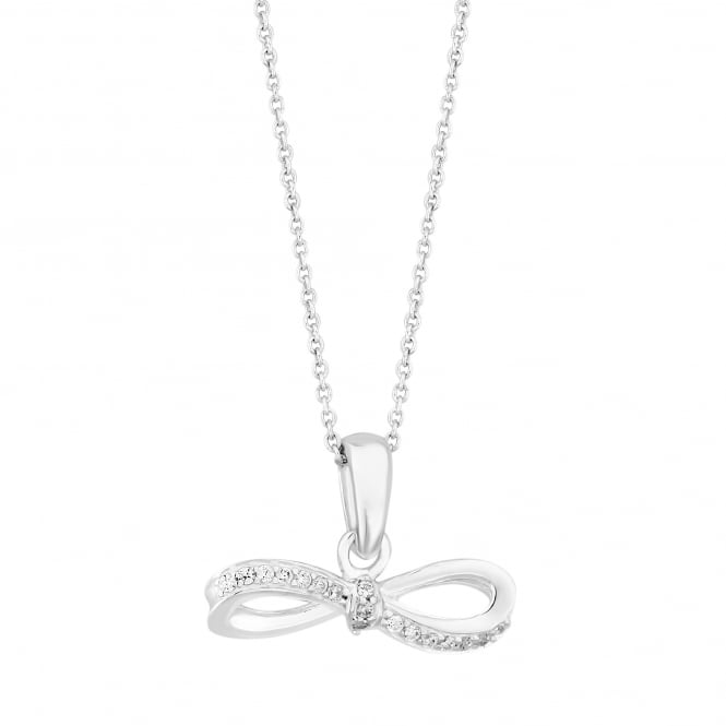 Simply Silver Sterling Silver Cubic Zirconia Bow Pendant Necklace