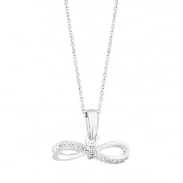 Sterling Silver Cubic Zirconia Bow Pendant Necklace