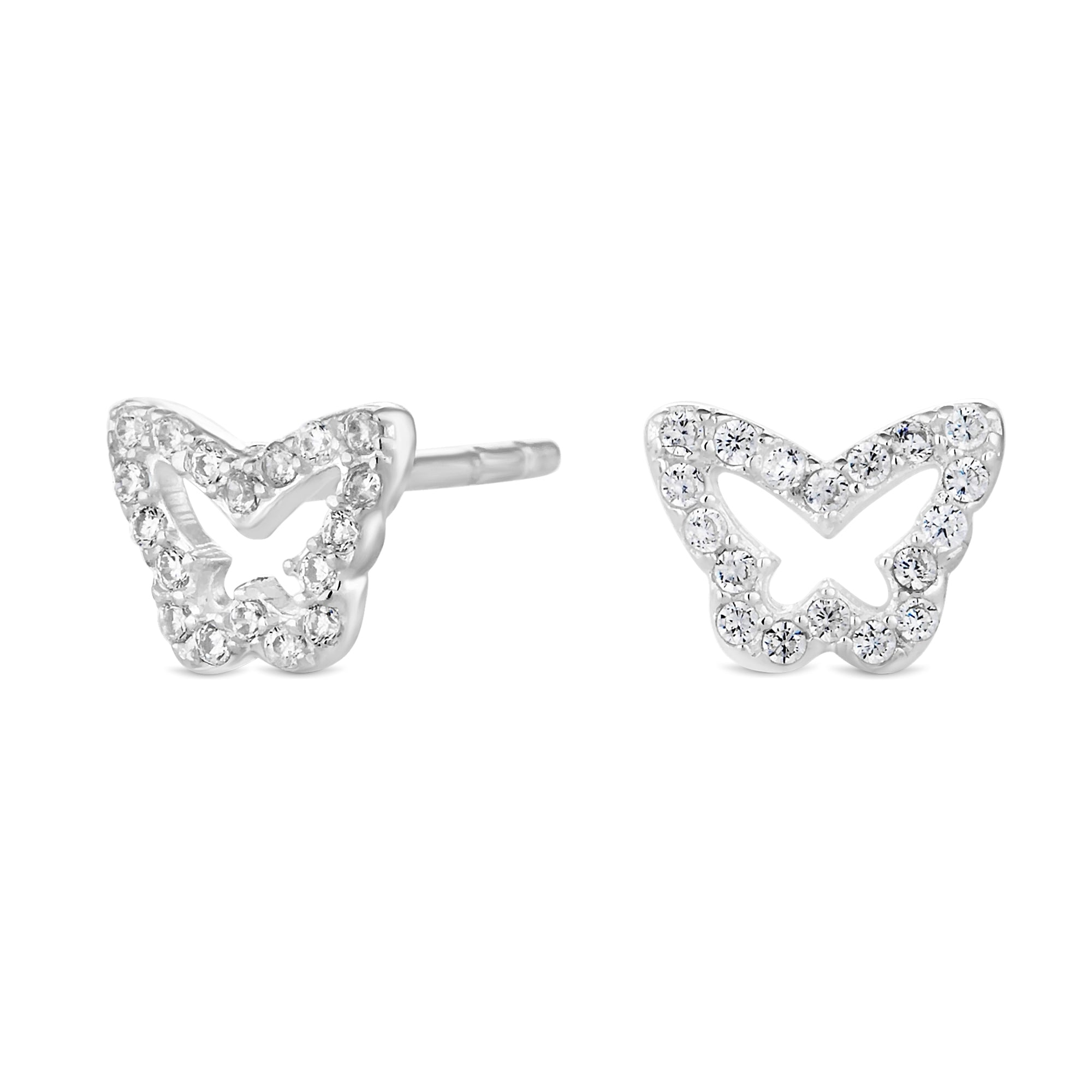 silver earrings sterling butterfly claire s stud