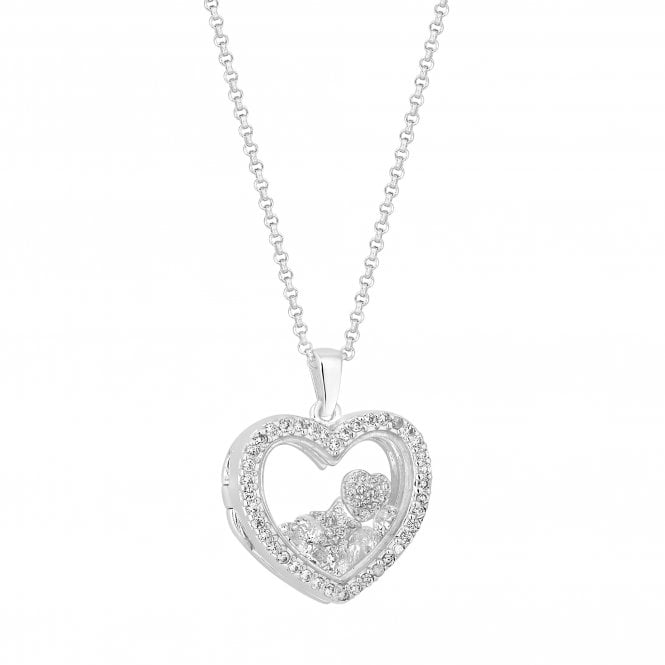 Sterling Silver Charm Locket Pendant Necklace