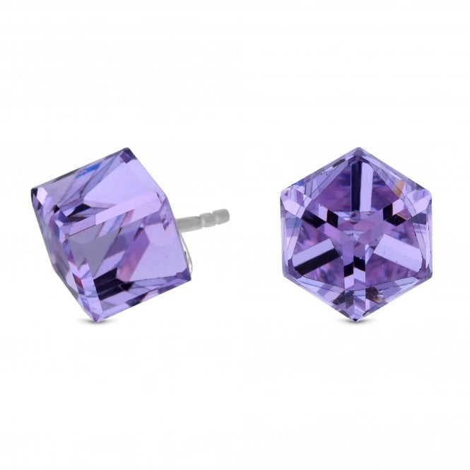 Sterling Silver Cube Stud Earring Embellished With Swarovski Crystals