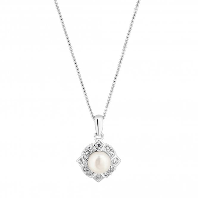 Sterling Silver Cubic Zirconia And Pearl Halo Pendant Necklace