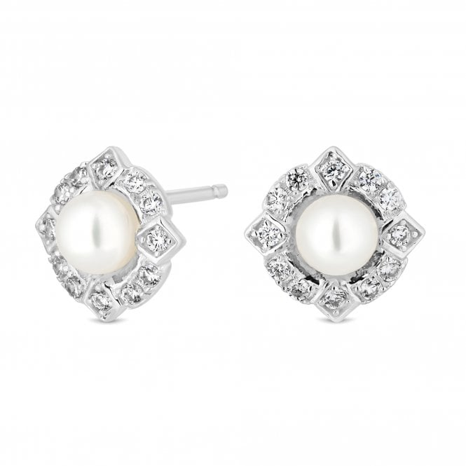 Sterling Silver Cubic Zirconia And Pearl Halo Stud Earring