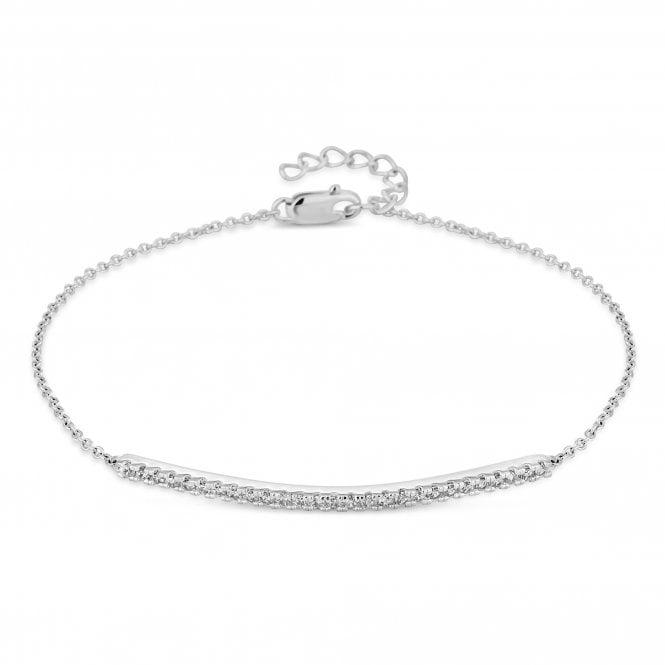 Sterling Silver Cubic Zirconia Bar Bracelet
