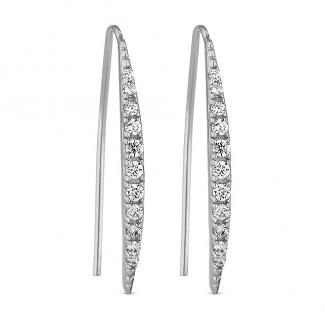 Sterling Silver Cubic Zirconia Bar Earring