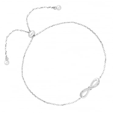 Sterling Silver Cubic Zirconia Bow Toggle Bracelet