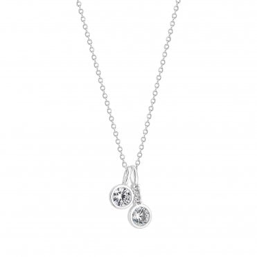 Sterling Silver Cubic Zirconia Charm Pendant Necklace