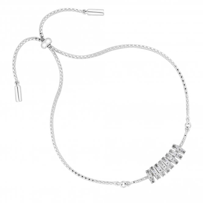 Sterling Silver Cubic Zirconia Charm Toggle Bracelet