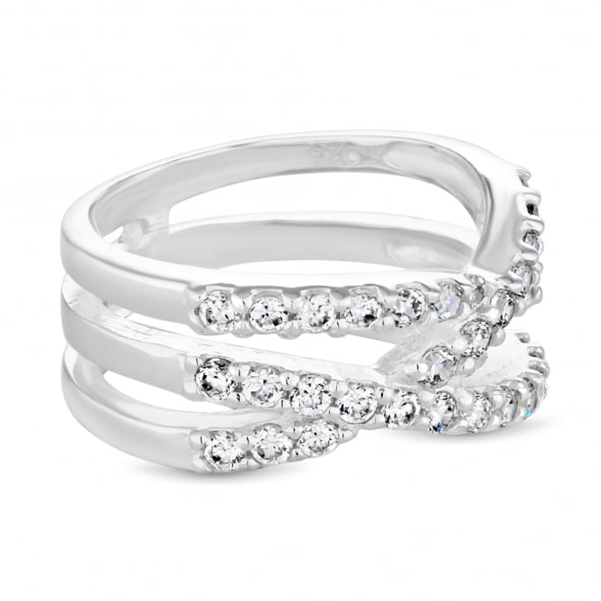 Simply Silver Sterling Silver Cubic Zirconia Multi-Cross Over Ring