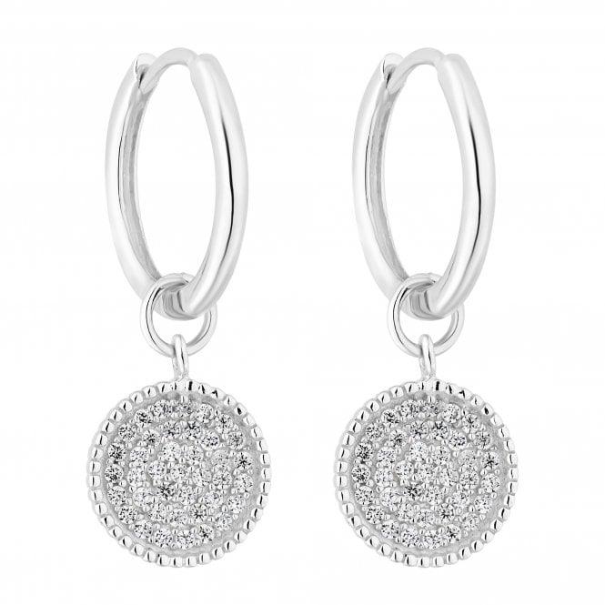 Sterling Silver Cubic Zirconia Disc Hoop Earring