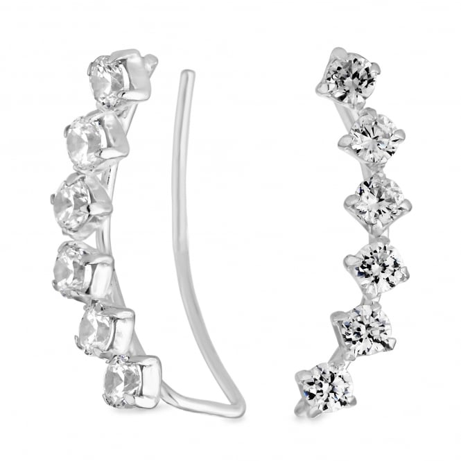 Simply Silver Sterling Silver Cubic Zirconia Ear Climber Earring