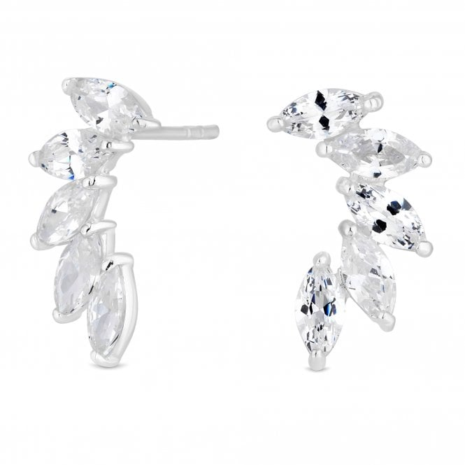 Sterling Silver Cubic Zirconia Ear Climber Set