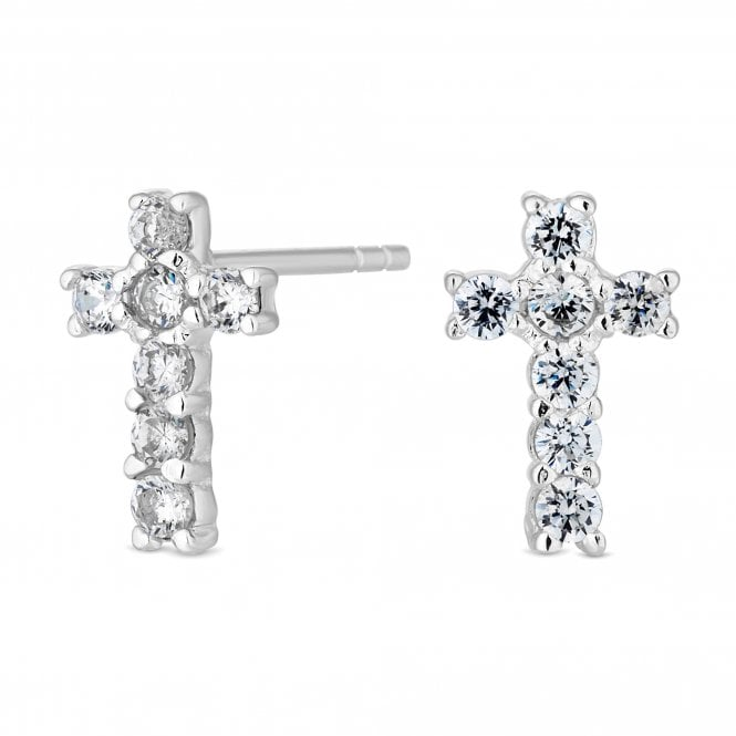 Sterling Silver Cubic Zirconia Embellished Cross Stud Earring