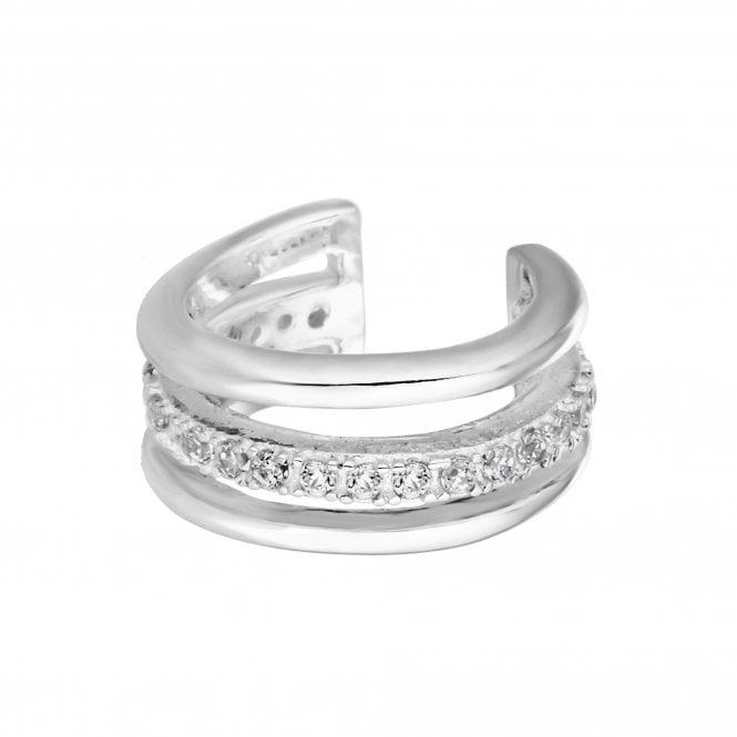 Sterling Silver Cubic Zirconia Embellished Ear Cuff