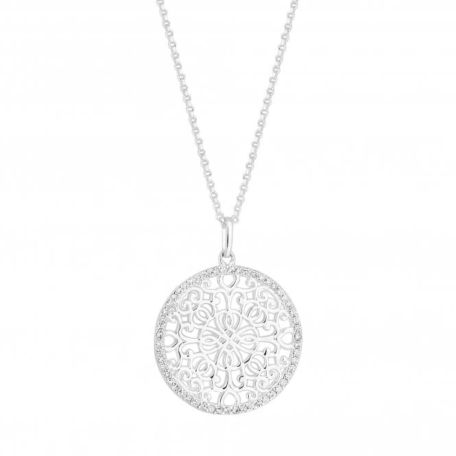 Sterling Silver Cubic Zirconia Embellished Filigree Disc Pendant Necklace