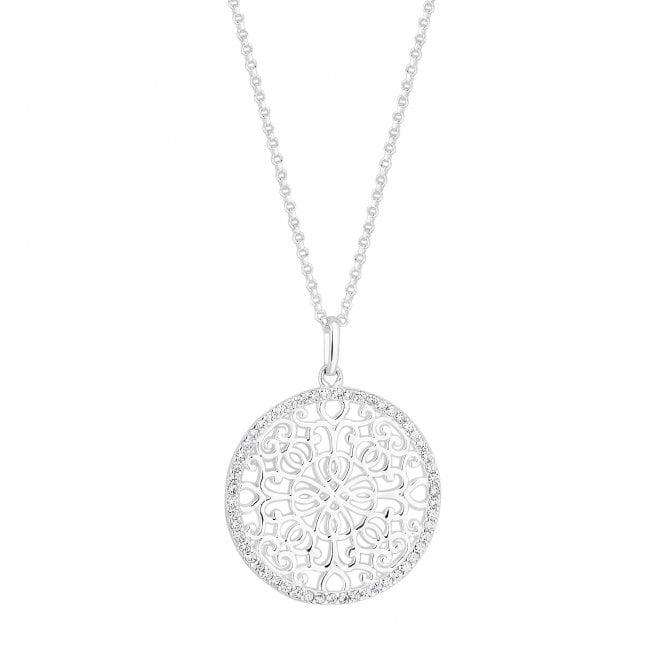 Sterling Silver Cubic Zirconia Embellished Filigree Disc Pendant Necklace