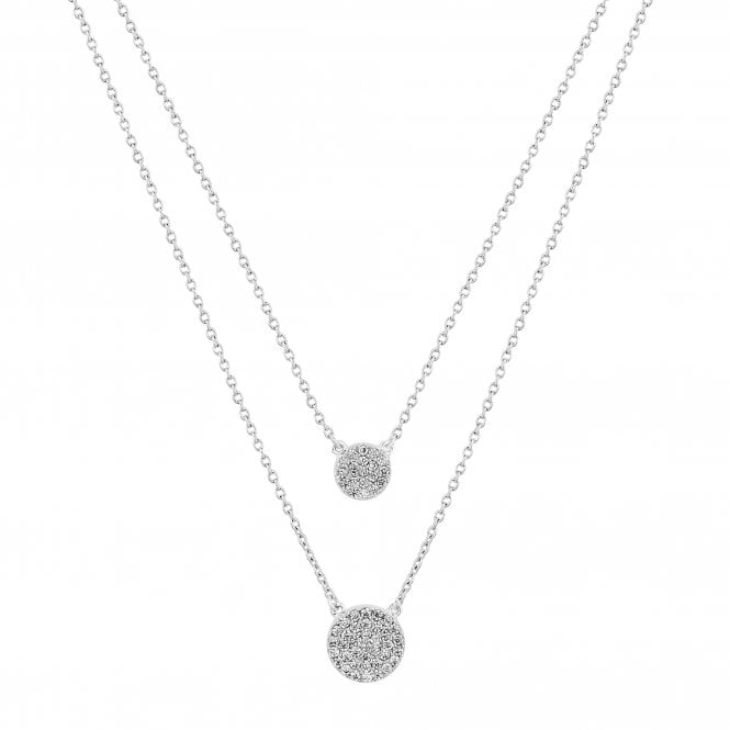 Sterling Silver Cubic Zirconia Embellished Multi Row Disc Necklace