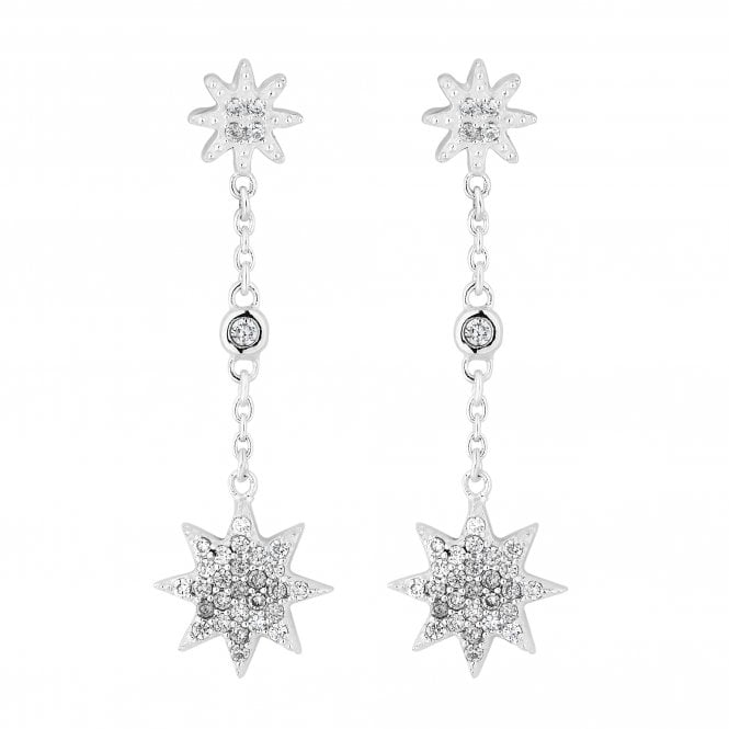 Sterling Silver Cubic Zirconia Embellished North Star Drop Earring