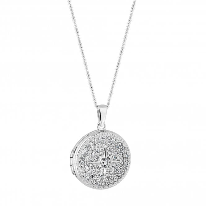 Sterling Silver Cubic Zirconia Embellished North Star Locket Necklace