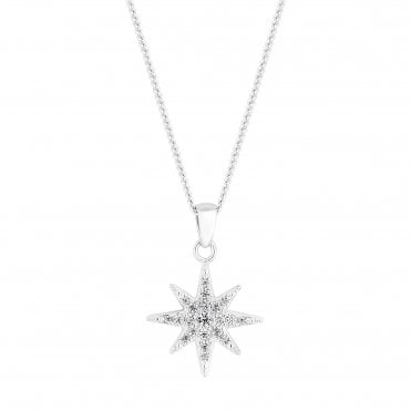 Sterling Silver Cubic Zirconia Embellished North Star Pendant Necklace