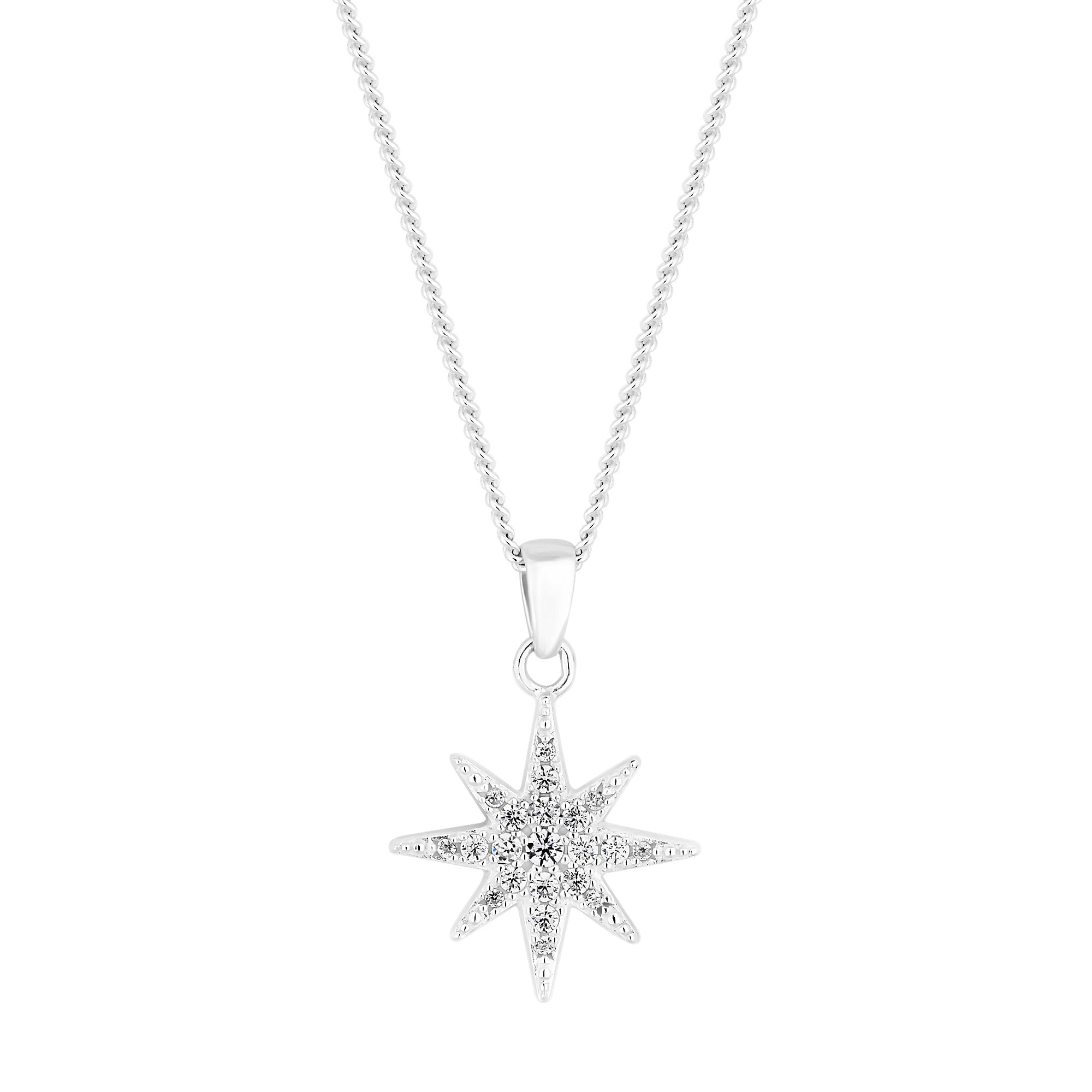 t sterling necklace in cz silver ct w quot pendant north star