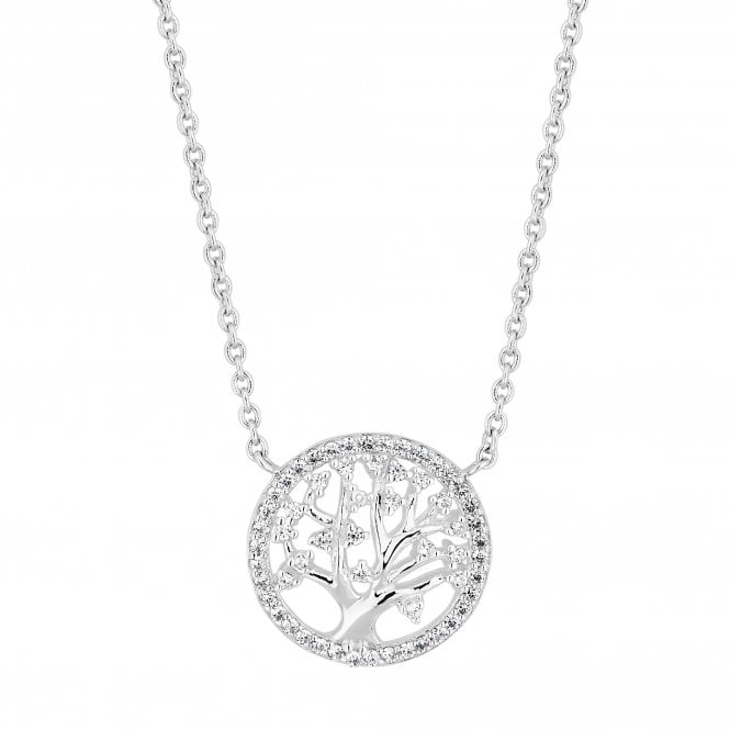 Sterling Silver Cubic Zirconia Embellished Tree Of Life Necklace