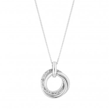 Sterling Silver Cubic Zirconia Embellished Triple Ring Pendant Necklace