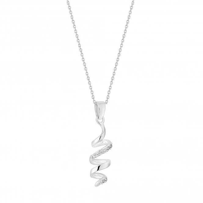 Sterling Silver Cubic Zirconia Encrusted Twist Pendant Necklace