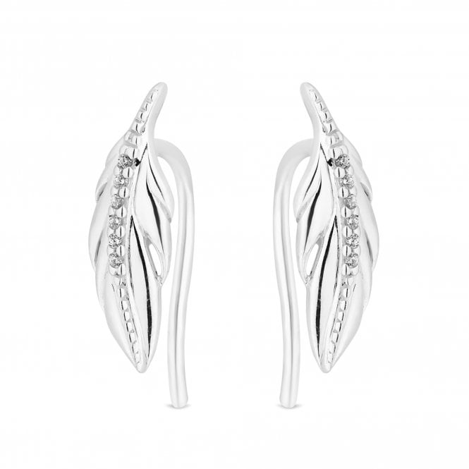 Sterling Silver Cubic Zirconia Feather Earring