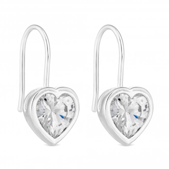 Sterling Silver Cubic Zirconia Heart Drop Earring