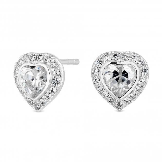 Sterling Silver Cubic Zirconia Heart Halo Stud Earring