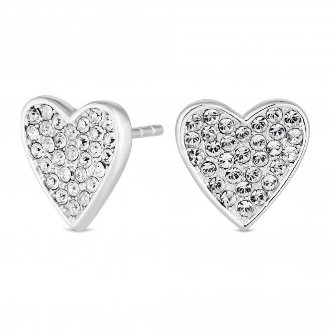 Sterling Silver Cubic Zirconia Heart Stud Earring