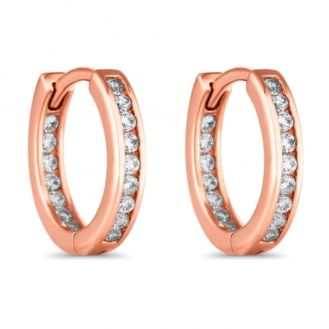 Simply Silver 14ct Rose Gold Plated Sterling Silver Cubic Zirconia Hoop Earring