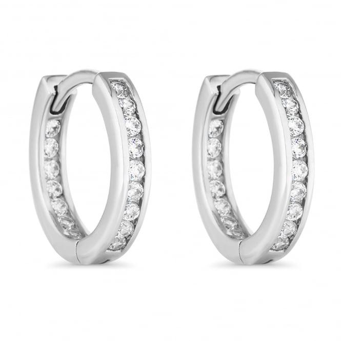 Sterling Silver Cubic Zirconia Hoop Earring