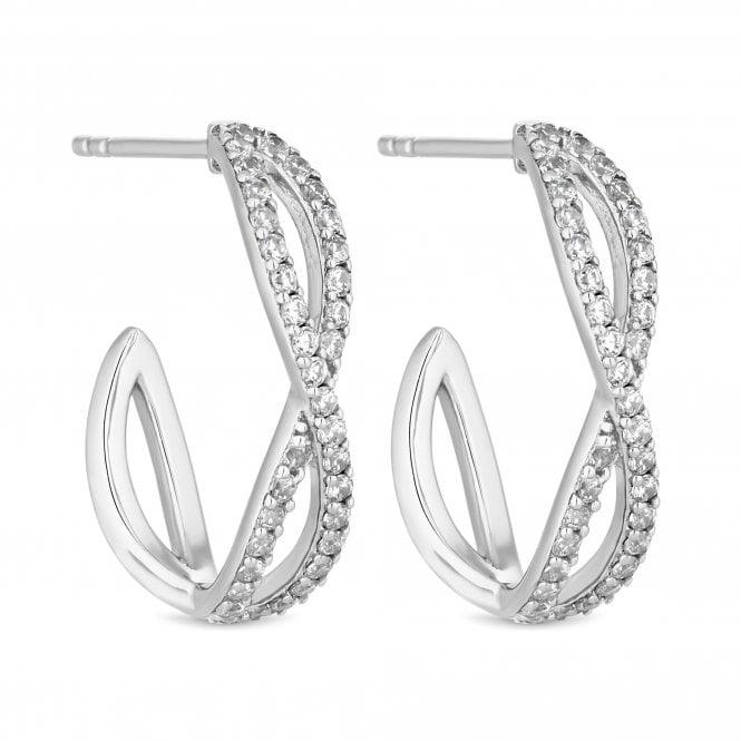 Sterling Silver Cubic Zirconia Infinity Half Hoop Earring