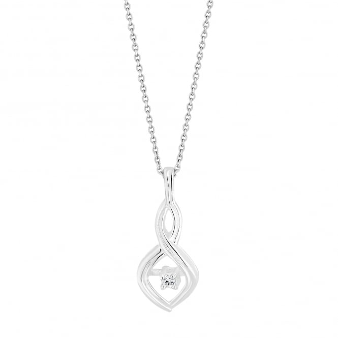 Sterling Silver Cubic Zirconia Infinity Pendant Necklace