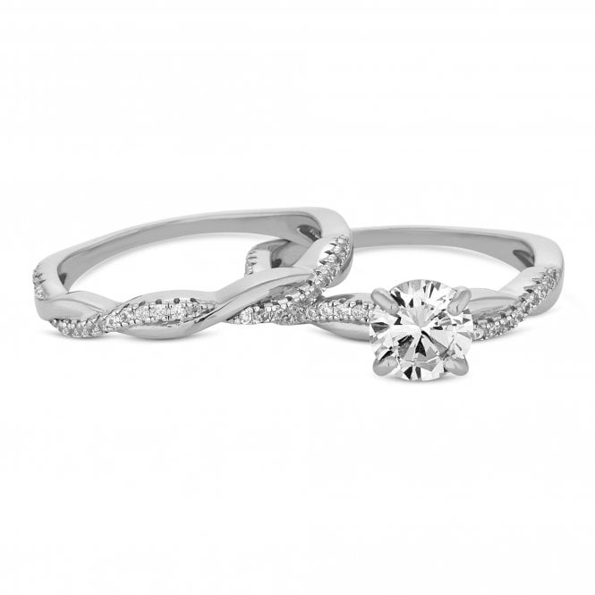 Sterling Silver Cubic Zirconia Infinity Ring Set