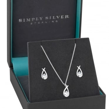 Sterling Silver Cubic Zirconia Knot Jewellery Set In A Gift Box