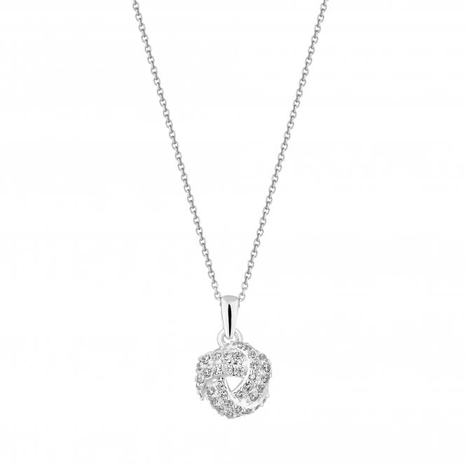 Sterling Silver Cubic Zirconia Knot Pendant Necklace