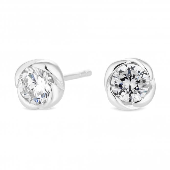 Sterling Silver Cubic Zirconia Knot Stud Earring