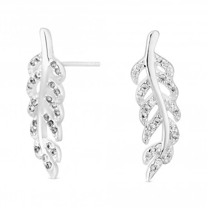Sterling Silver Cubic Zirconia Leaf Stud Earring