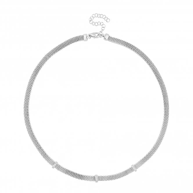 Sterling Silver Cubic Zirconia Mesh Necklace